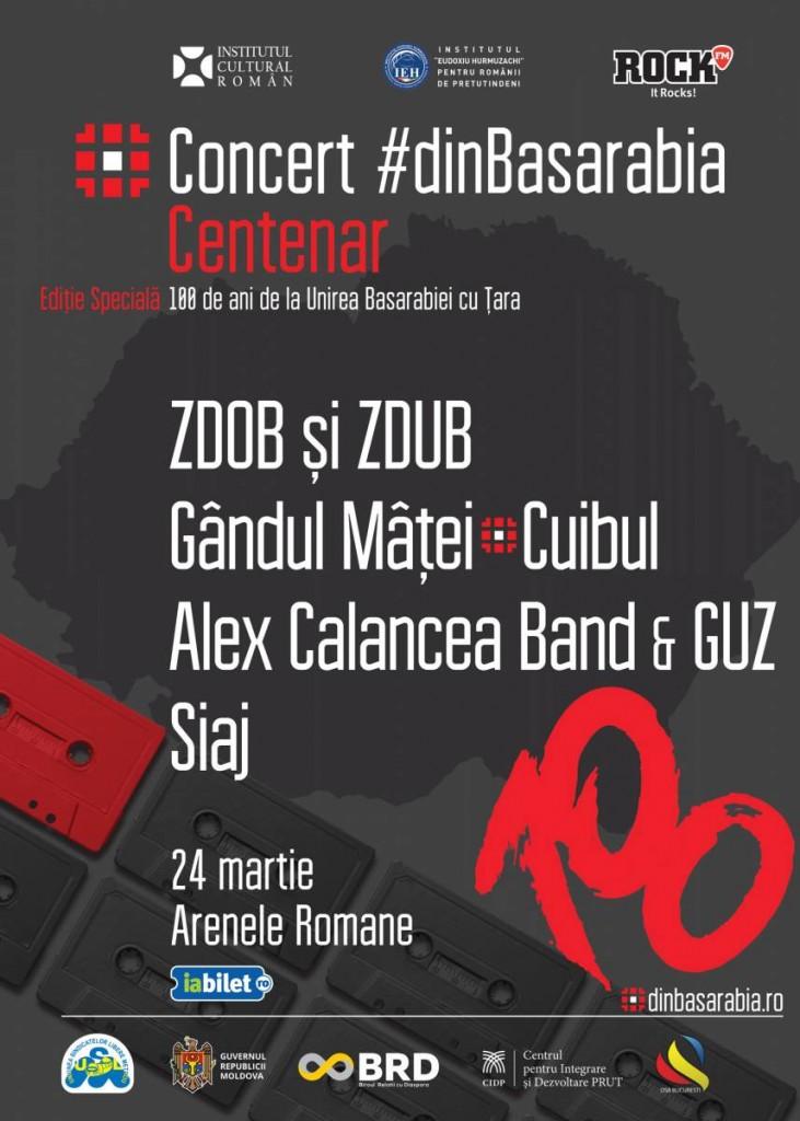 Afis Concert dinBasarabia Centenar - Zdob si Zdub, Gandul Matei, Lupii, Cuibu, Siaj